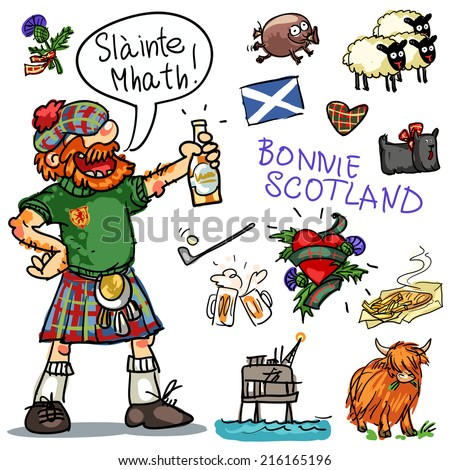 Bonnie Scotland cartoon collection, funny Scottish man with whiskey - stock vector