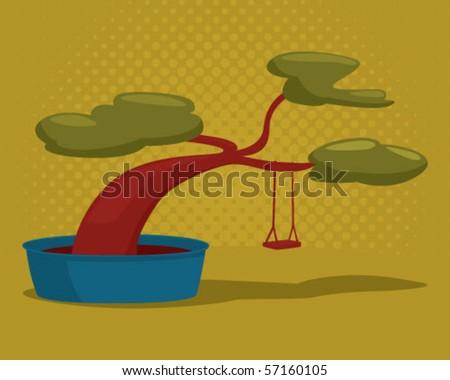 bonsai. - stock vector