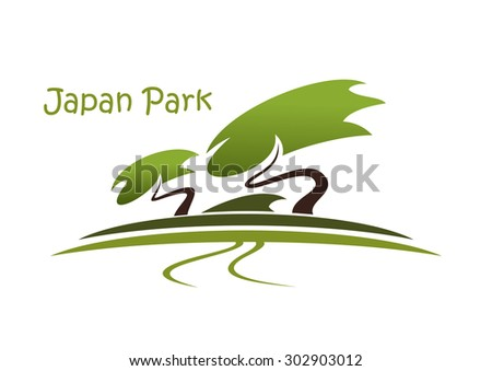 Bonsai garden abstract symbol with traditional oriental landscape, pine trees and footpath isolated on white background with caption Japan Park - stock vector