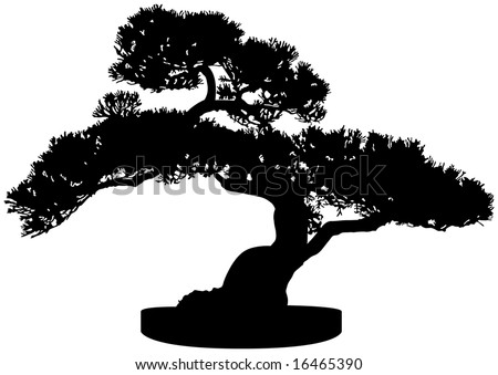 Bonsai Tree Silhouette - stock vector