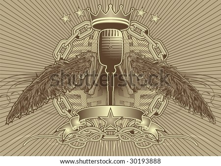 Bony wing tattoo style motif featuring a microphone. - stock vector