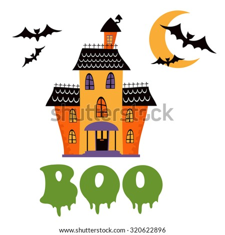 Boo card with haunted house.Illustration in vector format - stock vector