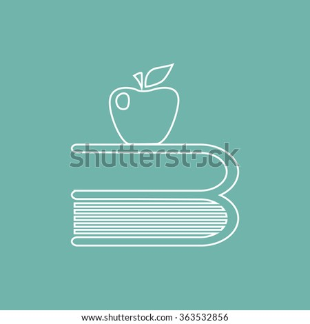 Book and apple icon - stock vector