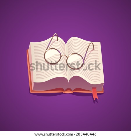 Book and glasses. Isolated object \ background. - stock vector