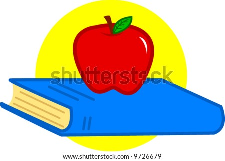 book and red apple - stock vector