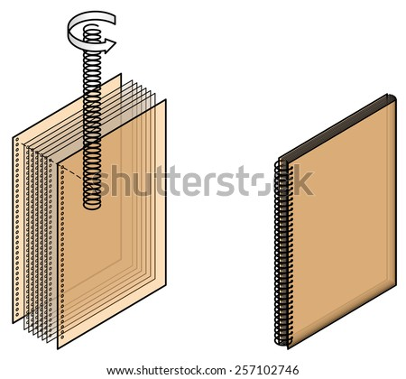 Book binding technique: spiral bound. - stock vector