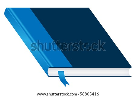 Book. Blue and closed with a bookmark isolated on a white background. Ample space to add copy text on the cover. Raster also available. - stock vector