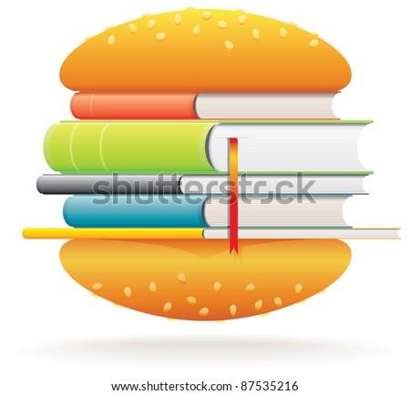 Book burger - stock vector