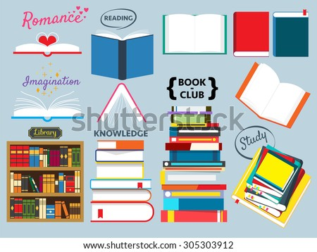 book collection,book club,back to school,book stack - stock vector