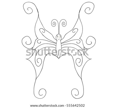 book coloring, cartoon, butterfly, vector