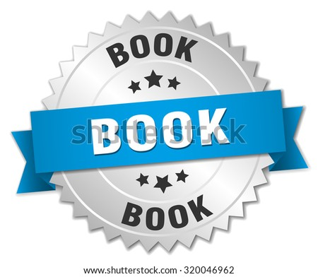 book 3d silver badge with blue ribbon