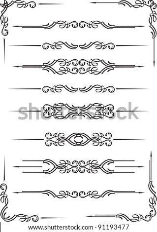 Book dividers set isolated on white - stock vector