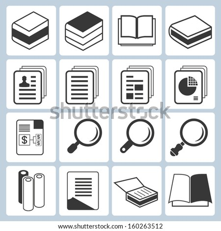book, document icons set