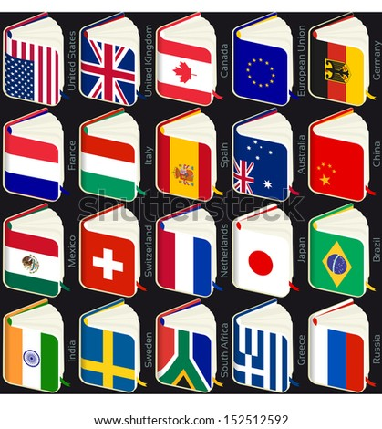 book flags popular countries