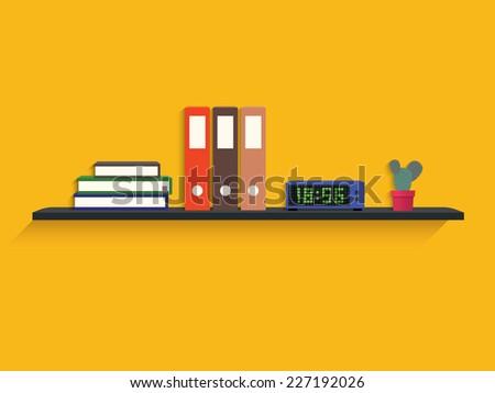 Book, folder, digital clock and cactus on shelf - stock vector