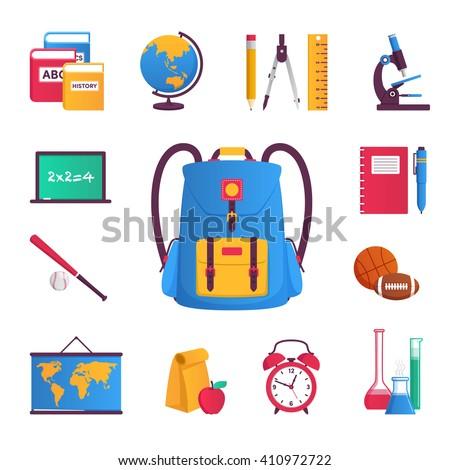 Book, globe, pencil, compass, microscope, notebook, pen, balls, bulb, alarm clock, lunch, map, bit, Board - stock vector