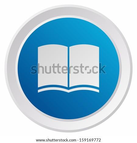 Book icon (GRX btn metallic, blue version) - stock vector