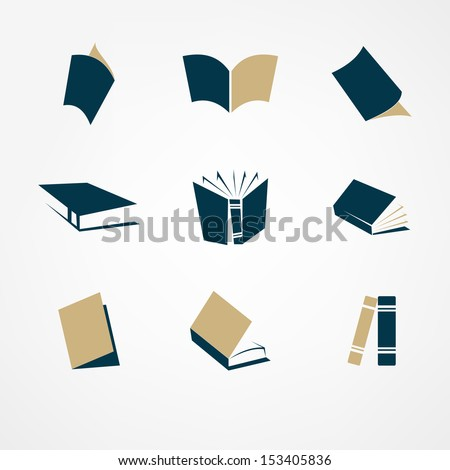 book icon set - stock vector