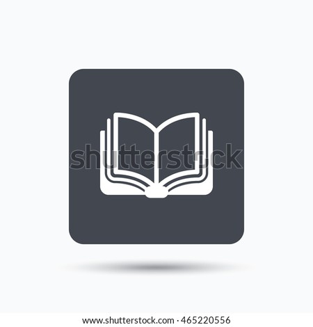 book icon study literature sign education stock vector  study literature sign education textbook symbol gray square button flat