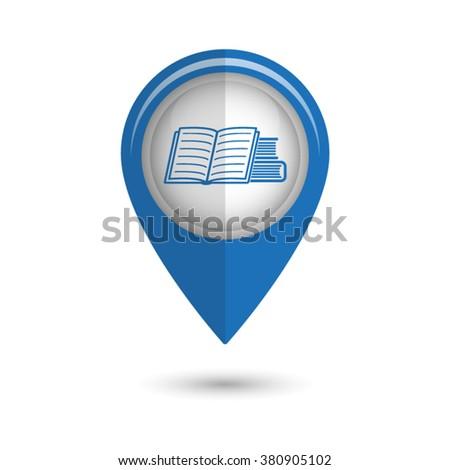 Book icon - vector icon;  blue map pointer - stock vector