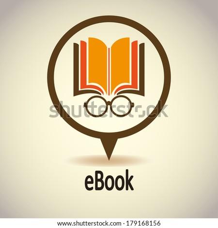 Book icon with Glasses. Ebook. (E-book). Vector Illustration - stock vector
