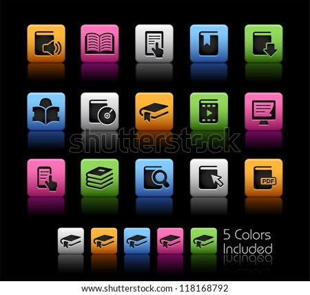 Book Icons // Color Box------It includes 5 color versions for each icon in different layers ------ - stock vector