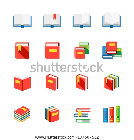 Book Icons : Flat Icon Set for Web and Mobile Application - stock vector