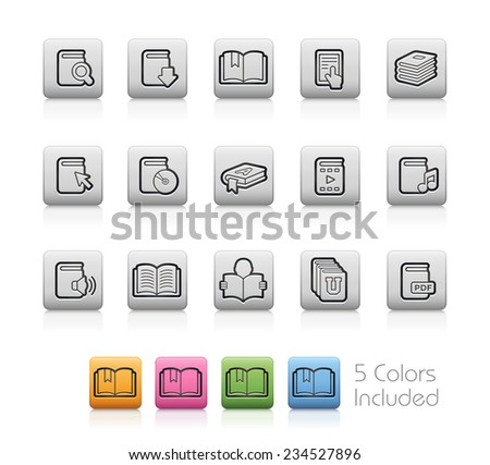 Book Icons // Outline Buttons - Each color in a layer. To see the desired color, you need to make it visible in the layer panel -- EPS 10+ Contain Transparencies - stock vector