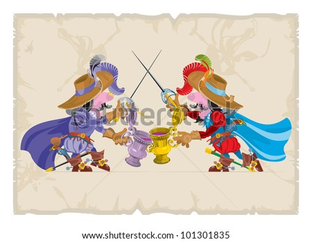 Book illustrations, 18. The celebration of the musketeers, vector
