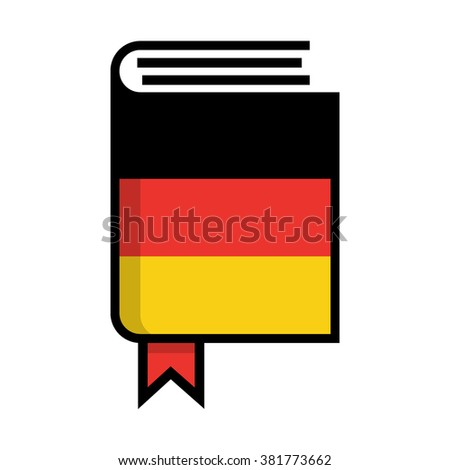 Book in hardcover of German flag. German dictionary flat vector icon on white background. Learn foreign language