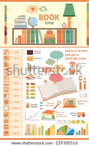 book infographic - stock vector