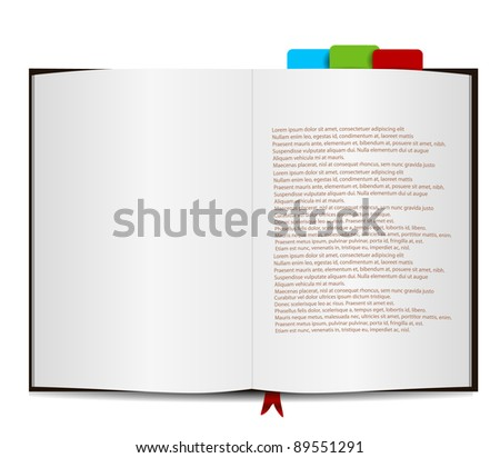 Book Isolated on white with Sample Text - stock vector