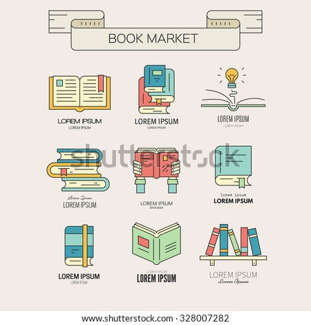 Book market or book festival illustration - collection of different books. Open book,book in hands, book with lightbulb, bookshelf made in vector. - stock vector