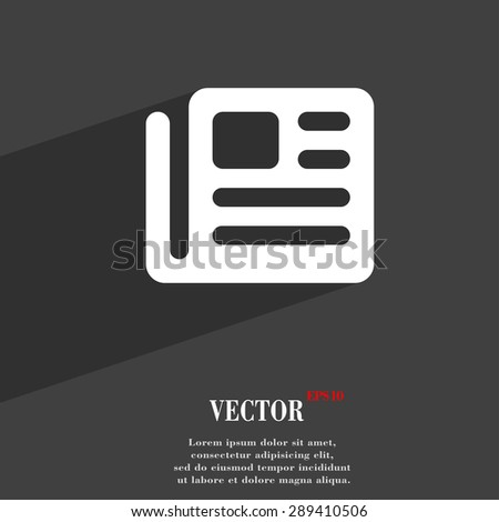 book, newspaper icon symbol Flat modern web design with long shadow and space for your text. Vector illustration - stock vector