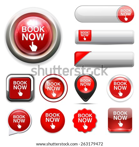 book now button - stock vector