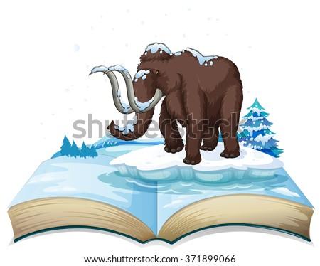 Book of mammoth on iceberg illustration - stock vector