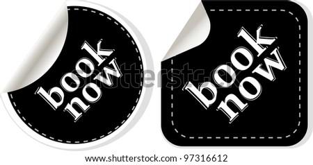 Book online now stickers set. - stock vector