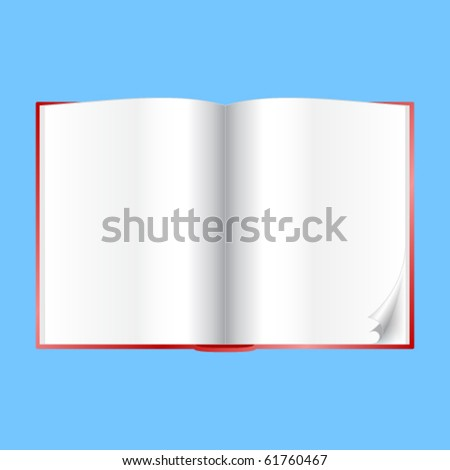 Book - open with blank white pages. - stock vector