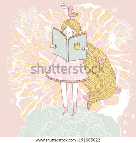 Book reading princess in pink colors. Vector card with cute girl reading fairy book. Cartoon summer card - stock vector