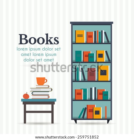 Book shelf and table with books and cup. Flat style vector illustration. - stock vector