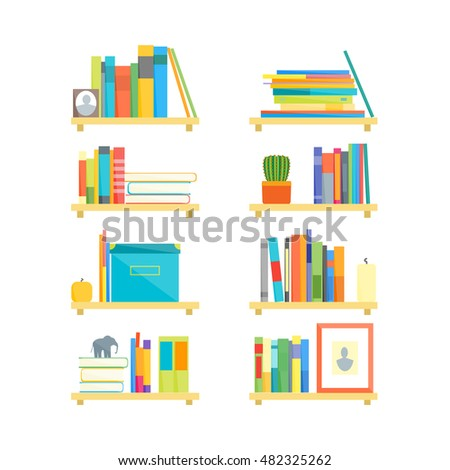 Flat Book Shelves Colorful Objects Cartoon Stock Vector