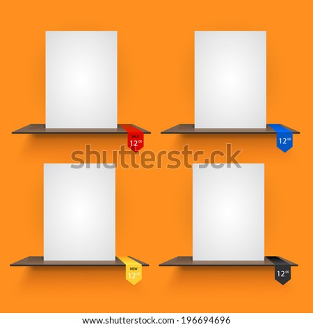 Book shelves with lables on light orange background. Vector illustration - stock vector