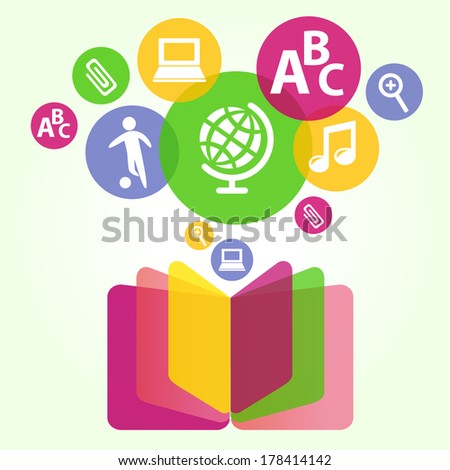 Book sign. Book symbol. Vector illustration of open book and education icons. The concept of modern education and science. Handbook, textbook - stock vector