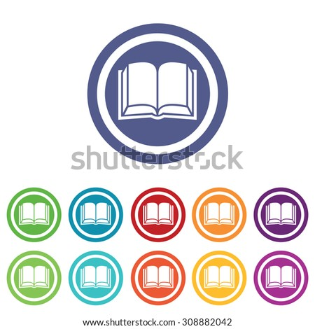 Book signs set, on colored circles, isolated on white - stock vector