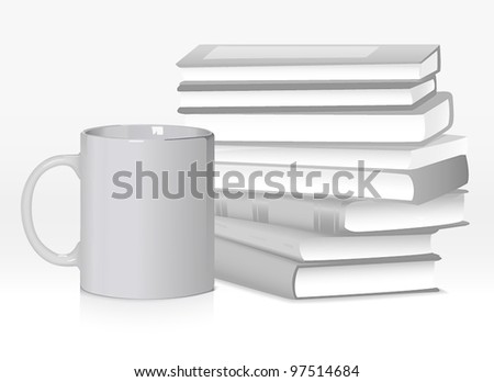 Book stack with mug - stock vector