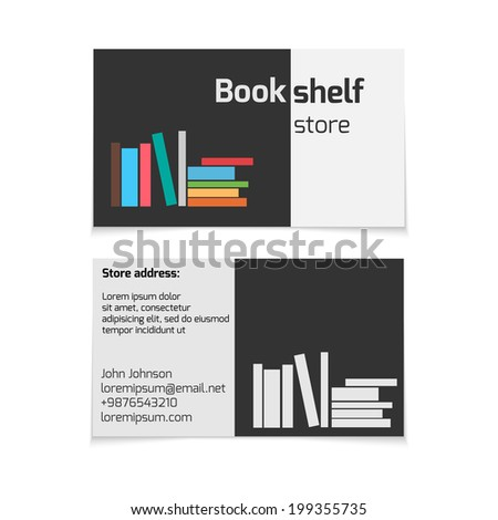 book store business card vector template stock vector 199355735