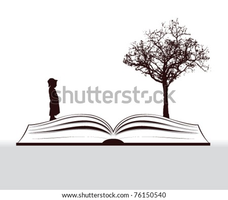 book story with child and tree - stock vector