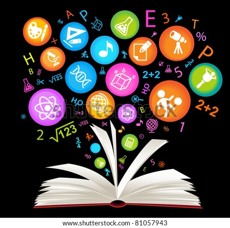 book symbol.The School of sciences - stock vector