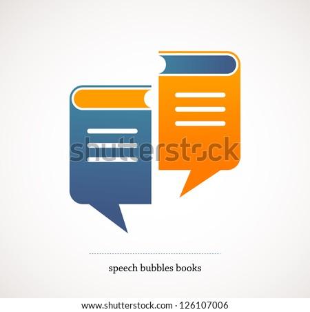 book talks - vector concept design with speech bubbles - stock vector