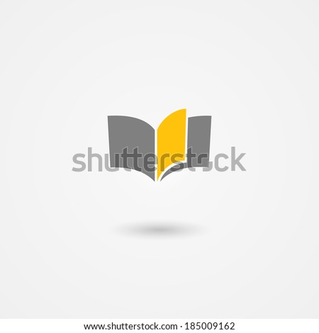 book vector icon with yellow page on white background - stock vector